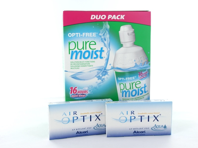 No Air Optix Aqua, 2x 6er Box + Pflegemittel