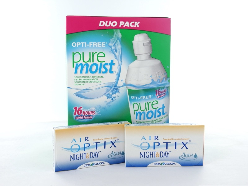 No Air Optix Night & Day Aqua, 2x 6er Box + Pflegemittel
